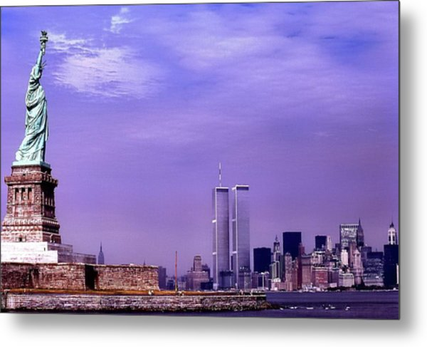World Trade Center Twin Towers And The Statue Of Liberty  Metal Print