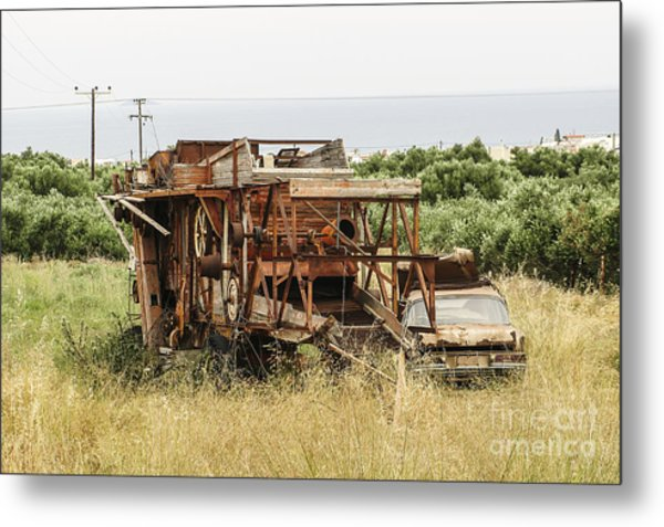 Worn Out Harvester And Car Metal Print by Kim Lessel