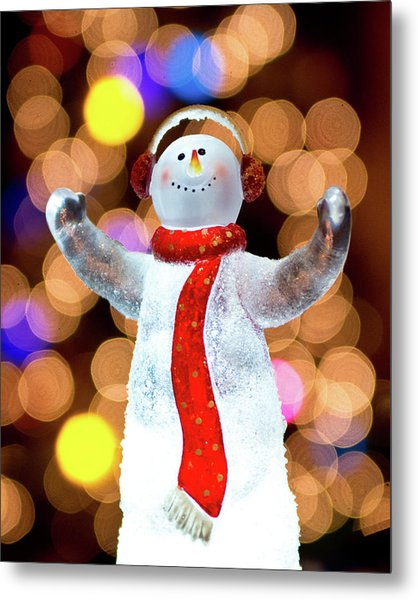 Worshiping Snowman Metal Print