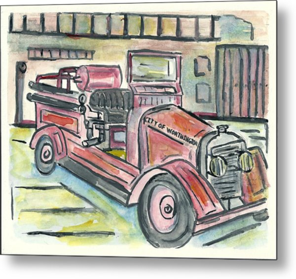 Worthington Fire Engine Metal Print