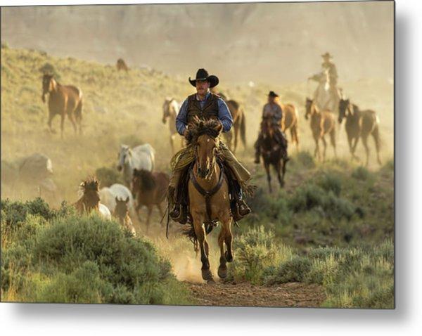 Wrangling The Horses At Sunrise At Absaroka Ranch, Wyoming Metal Print