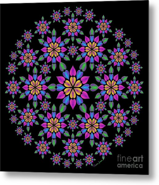 Wreath Of Heart Flowers Metal Print