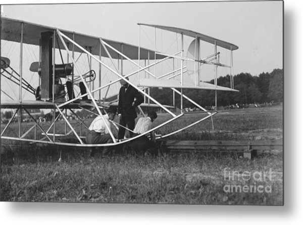Wright Brothers Biplane On Launch Track 1909 Metal Print