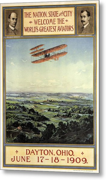 Wright Brothers - World's Greatest Aviators - Dayton, Ohio - Retro Travel Poster - Vintage Poster Metal Print