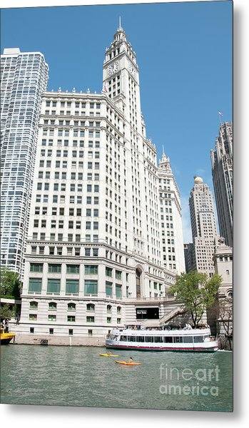 Wrigley Building Overlooking The Chicago River Metal Print