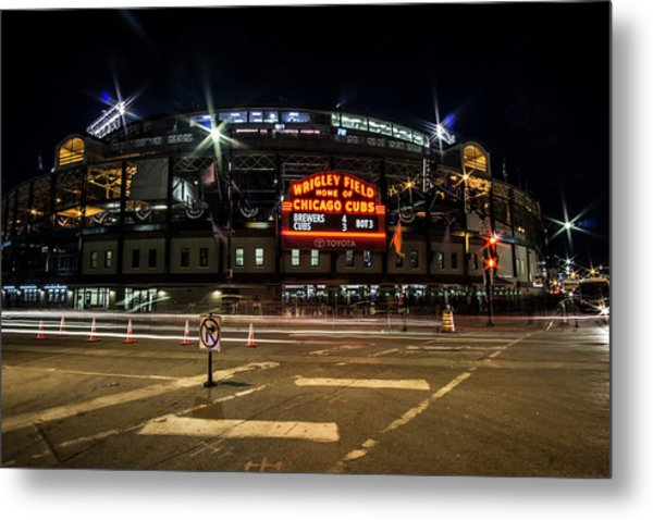 Wrigley Field Marquee At Night Metal Print
