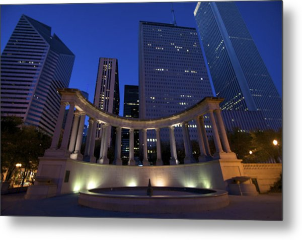 Wrigley Square At Night Metal Print