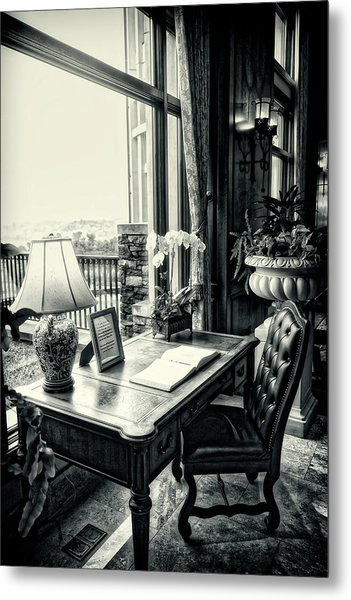 Writing Desk Bw Series 0808 Metal Print