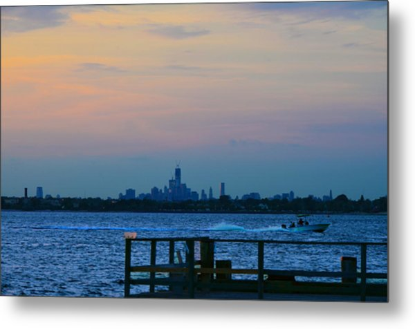 Wtc Over Jamaica Bay From Rockaway Point Pier Metal Print