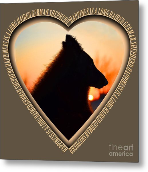 Wuffstar Happiness Is A Long Haired German Shepherd Heart Metal Print