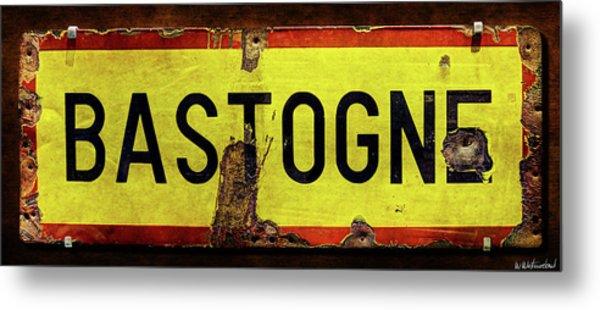 Wwii Bastogne Town Sign Metal Print