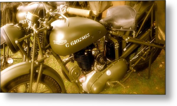 Wwii Triumph Despatch Rider Motorcycle Metal Print