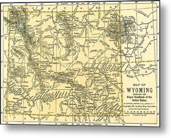 Wyoming Antique Map 1891 Metal Print