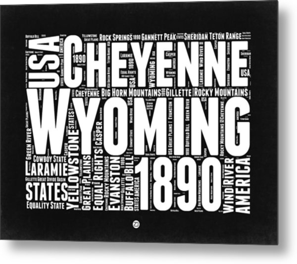 Wyoming Black And White Word Cloud Map Metal Print