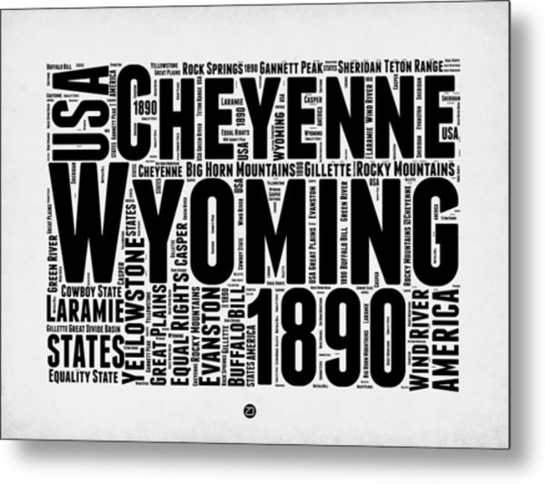 Wyoming Word Cloud Map 2 Metal Print