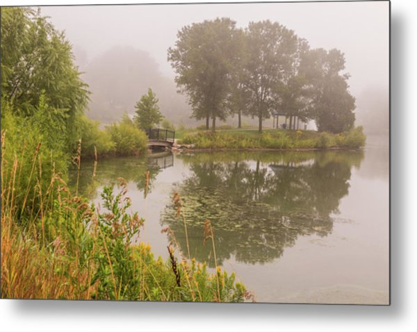 Misty Pond Bridge Reflection #5 Metal Print