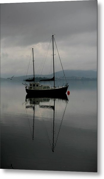 Yacht At Silent Moorings Metal Print