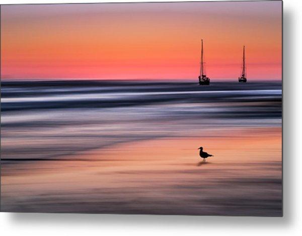 Yachts  At Sunset Widemouth Bay, Cornwall, Uk. Metal Print
