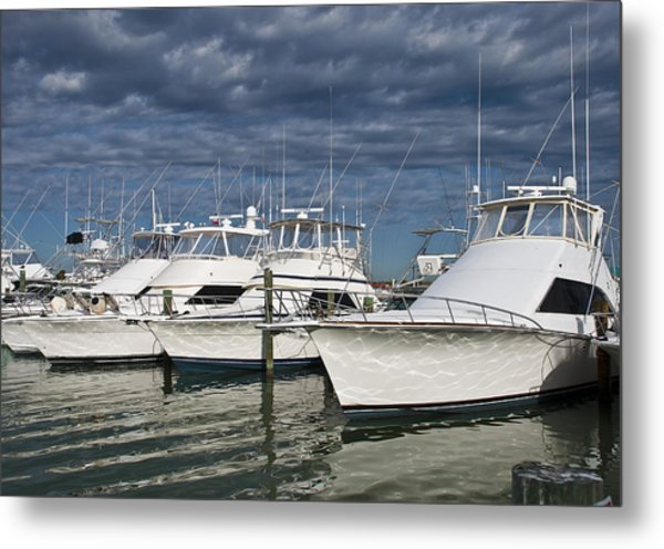 Yachts At The Dock Metal Print