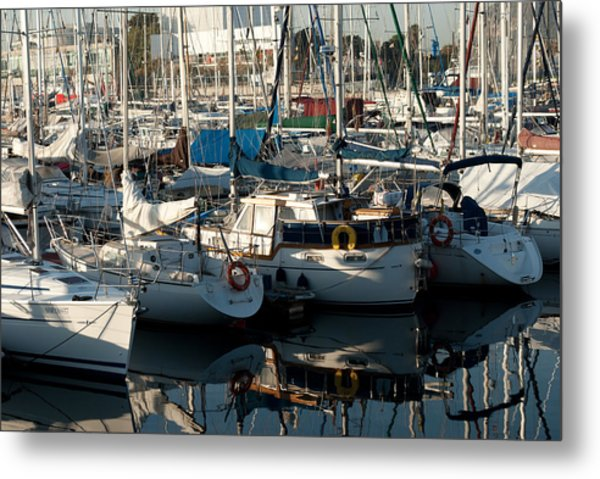 Yachts In The Lisboa Dock  Metal Print by Maryia Isachenka