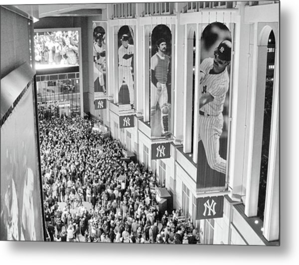 Yankee Stadium Great Hall 2009 World Series Black And White Metal Print