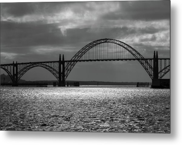 Yaquina Bay Bridge Black And White Metal Print