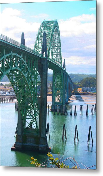 Yaquina Bay Bridge Br-9002 Metal Print by Mary Gaines