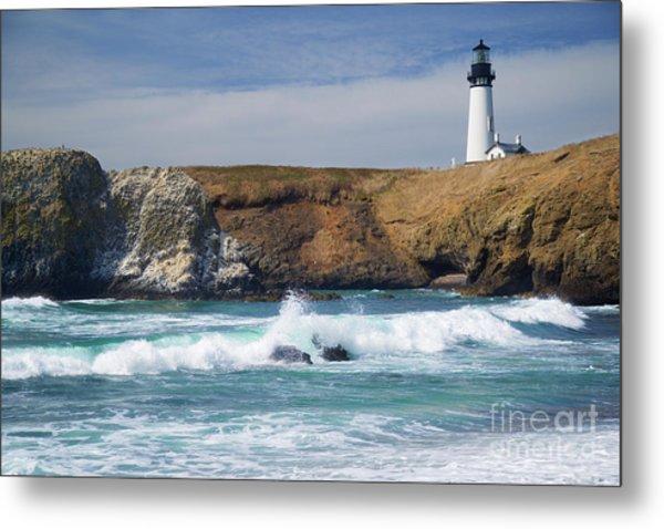 Yaquina Head Lighthouse On The Oregon Coast Metal Print