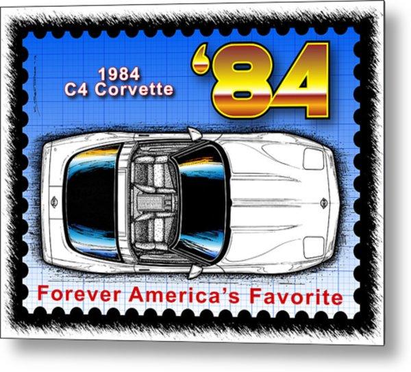 Year-by-year 1984 Corvette Postage Stamp Metal Print