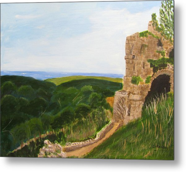 Metal Print featuring the painting Yehiam Fortress by Linda Feinberg