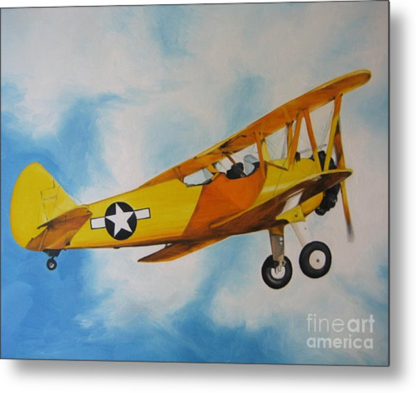Yellow Airplane - Detail Metal Print
