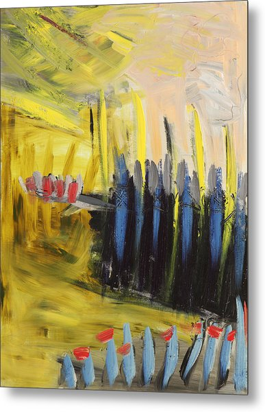 Yellow And Blue Abstract Metal Print by Maggis Art