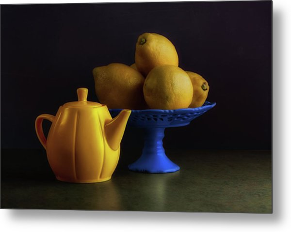 Yellow And Blue Still Life Metal Print