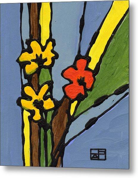 Yellow And  Red Flower Metal Print by Helen Pisarek