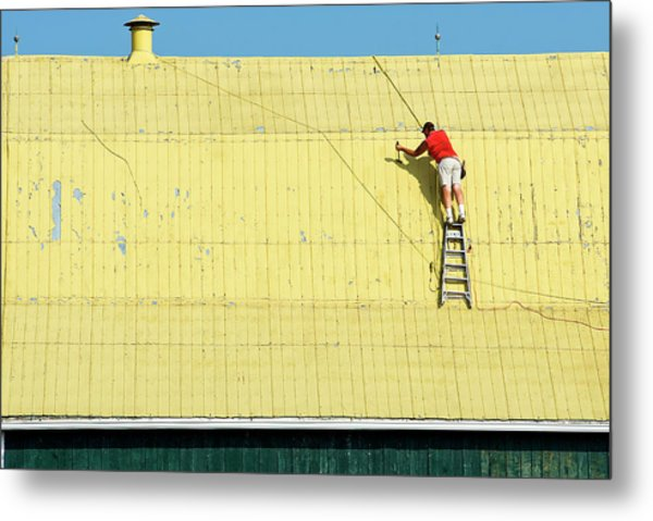 Yellow Barn Roof Workers-7 Metal Print