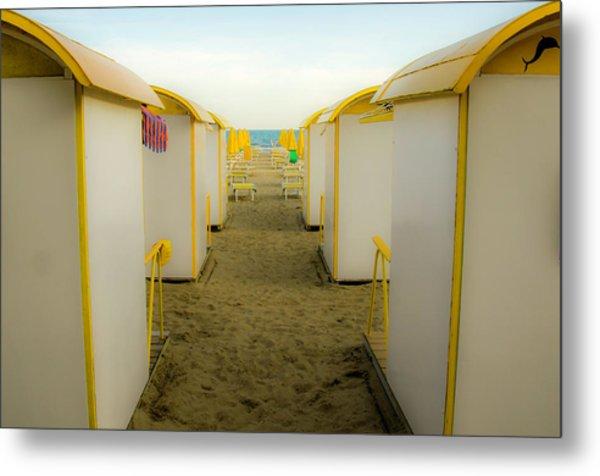 Yellow Beach Cabanas Metal Print