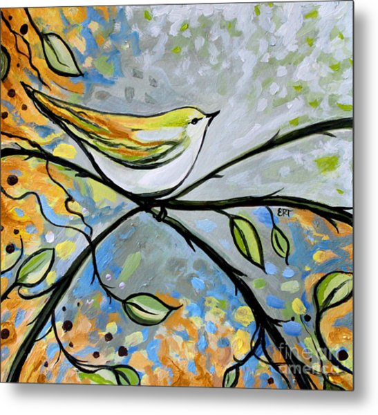 Yellow Bird Among Sage Twigs Metal Print