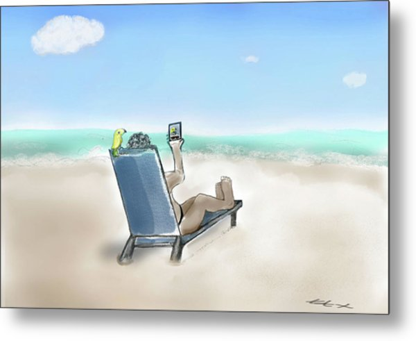 Yellow Bird Beach Selfie Metal Print