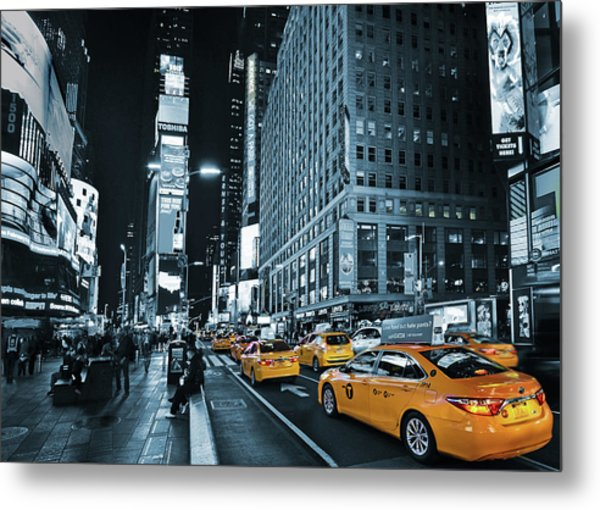 Yellow Broadway At Night - Nyc Metal Print