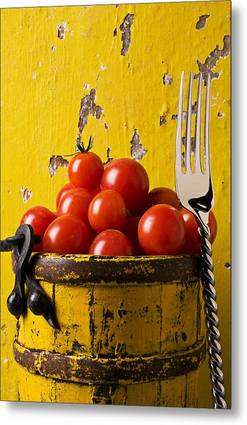 Yellow Bucket With Tomatoes Metal Print