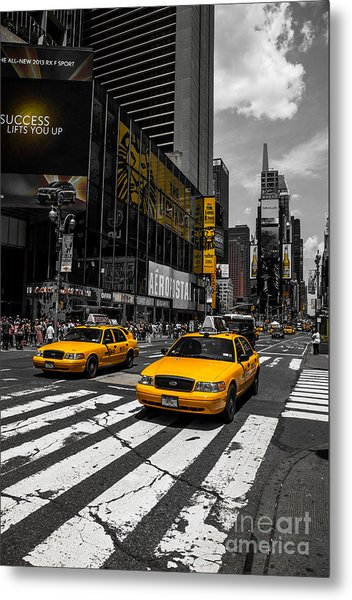 Yellow Cabs Cruisin On The Times Square  Metal Print