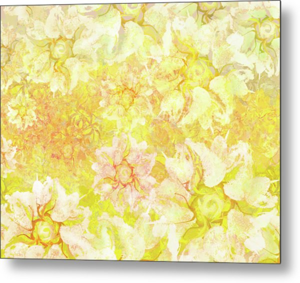 Yellow Camellia Hedges Metal Print