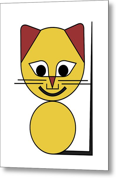 Yellow Cat Metal Print by Asbjorn Lonvig