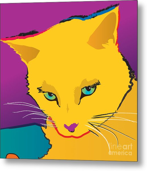 Yellow Cat Square Metal Print