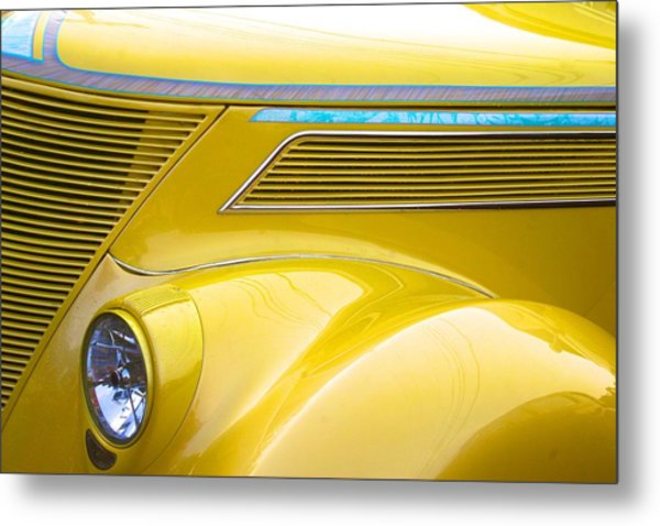 Yellow Classic Car Contours Metal Print