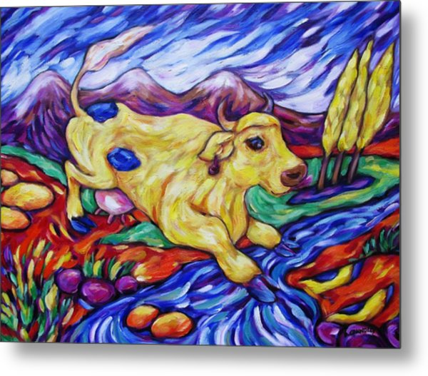 Yellow Cow Jumps The Creek Metal Print by Dianne  Connolly