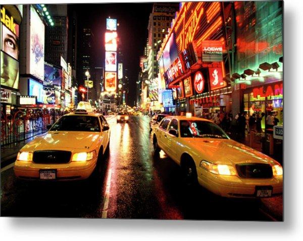 Yellow Crown Cabs Metal Print