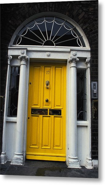 Yellow Door In Dublin Metal Print by Carl Purcell