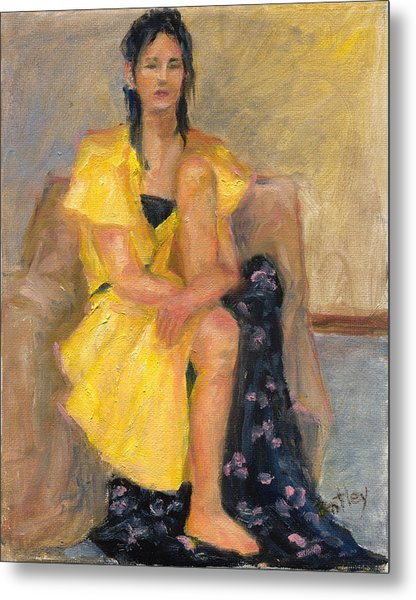 Yellow Dress Metal Print by Rita Bentley