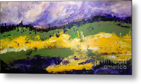 Yellow Fields Metal Print by Maria Curcic
